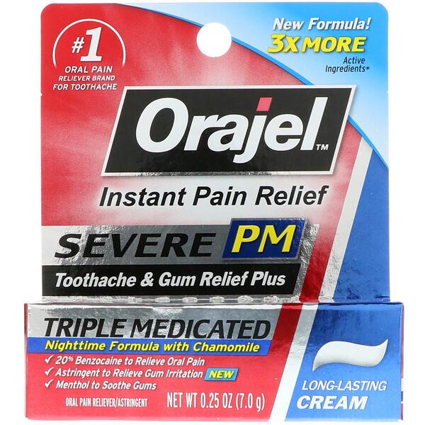 Orajel, Severe PM, против зубной боли и боли десен, медикаментозный крем тройного действия, 0,25 унц. (7,0 г) (Discontinued Item)