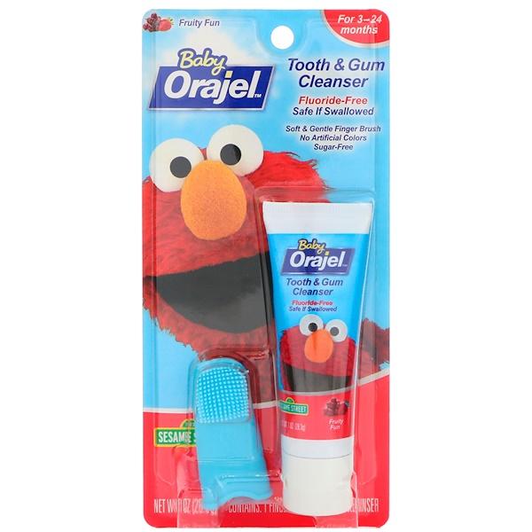 Orajel, Elmo Очищающее средство для зубов и десен, Фруктовое удовольствие, 3-24 месяца, 1 унц.(28,3 г) (Discontinued Item)