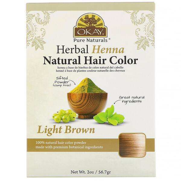 Натуральная краска для волос из травяной хны, светло-коричневый, 56,7 г (2 унции)