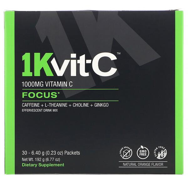 1Kvit-C, ВитаминC, повышение концентрации, шипучая смесь для приготовления напитка, натуральный апельсиновый вкус, 1000мг, 30пакетиков по 6,4г (0,23унции)
