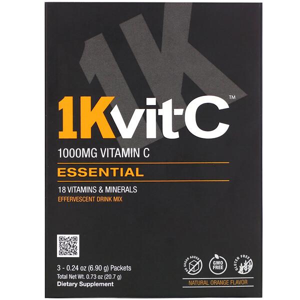 1Kvit-C, Essential, витаминC, шипучая смесь для напитка, натуральный апельсиновый вкус, 1000мг, 3пакетика по 6,90г (0,24унции)