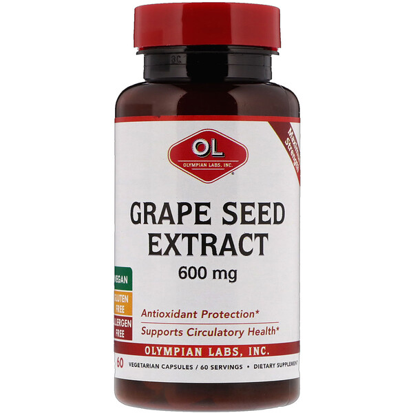 Olympian Labs, экстракт из косточек винограда, максимальная эффективность, 600 мг, 60 вегетарианских капсул