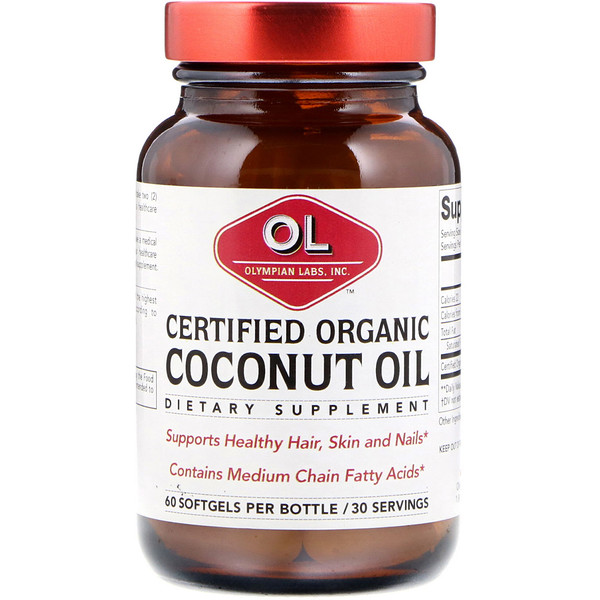 Olympian Labs, Certified Organic Coconut Oil, Organic, 60 Softgels (Discontinued Item)