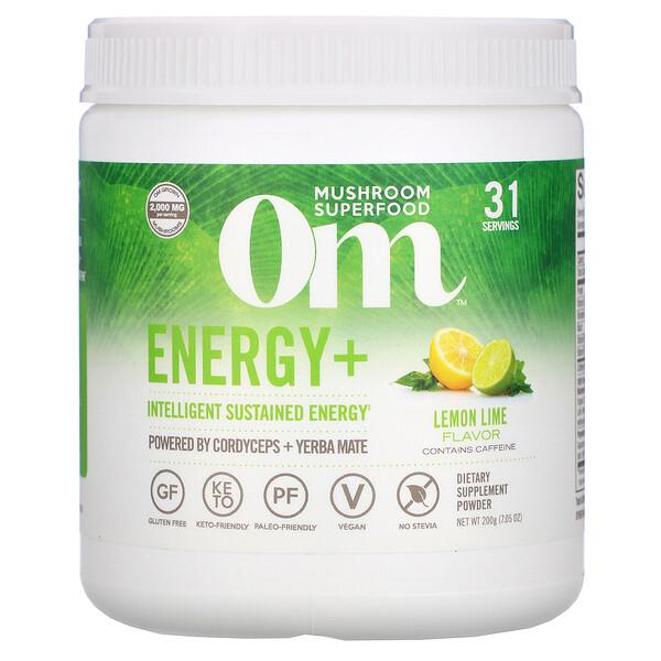 Energy+, Powered by Cordyceps + Yerba Mate Powder, Lemon Lime, 2,000 mg, 7.05 oz (200 g)