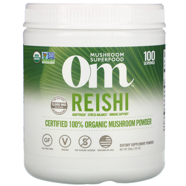Reishi, Certified 100% Organic Mushroom Powder, 7.05 oz (200 g)