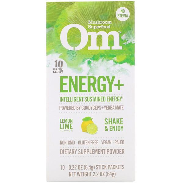 Энергия+, с кордицепсом и мате, лимонный лайм, 10 пакетиков по 0,22 унц. (6,4 г) каждый