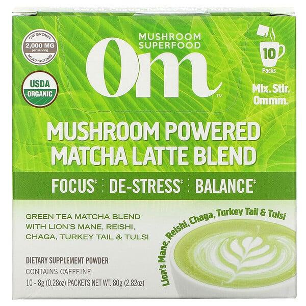 Mushroom Powered Matcha Latte Blend, 10 Packets, 0.28 oz (8 g) Each