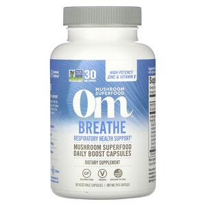 Om Mushrooms, Breathe, Respiratory Health Support, 90 Vegetable Capsules