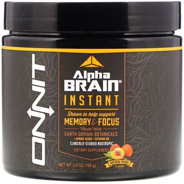 Onnit, Alpha Brain Instant, Memory & Focus, Natural Peach Flavor, 3.8 oz (108 g)