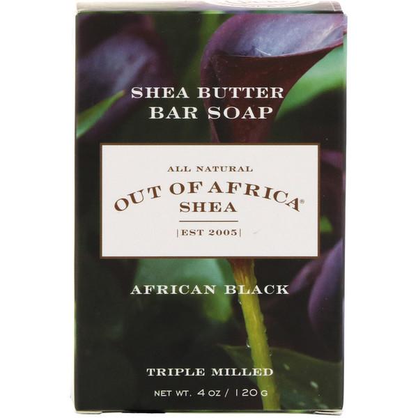 Африканское черное кусковое мыло с маслом ши, 120г (4унции)