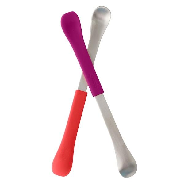Swap, 2-in-1 Feeding Spoon, 4 + Months, Coral & Plum, 2 Spoons