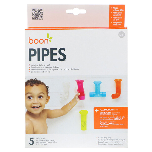 Pipes, Building Bath Toy Set, 5 Bath Toys, Colors May Vary, 12+ Months