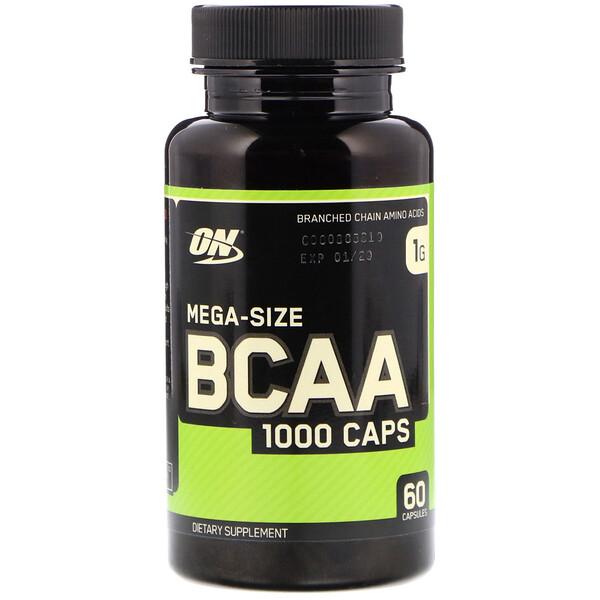 Optimum Nutrition, BCAA 1000 Caps, мега-размер, 1 г, 60 капсул