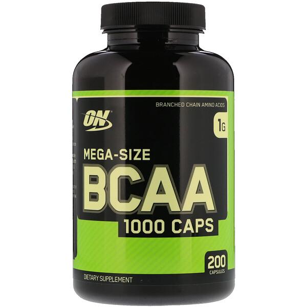 Optimum Nutrition, BCAA 1000 Caps, большая упаковка, 1г, 200капсул