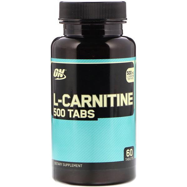 Optimum Nutrition, L-карнитин 500, 500 мг, 60 таблеток