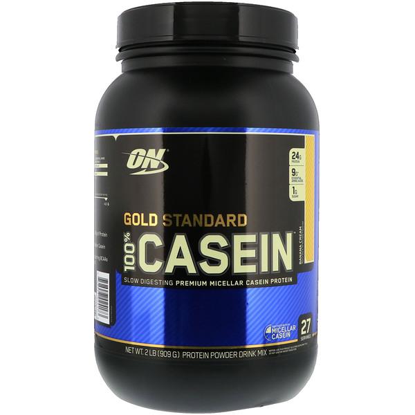 Optimum Nutrition, Gold Standard 100% Casein, казеин со вкусом банана, 909 г (2 фунта)