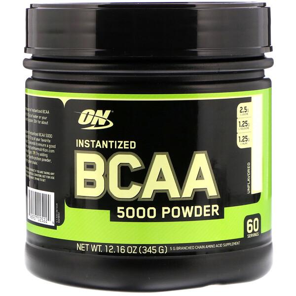 Optimum Nutrition, BCAA 5000, растворимый порошок, без добавок, 345г (12,16унции)