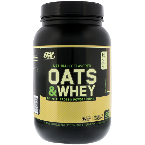 Optimum Nutrition, Oats & Whey Protein Powder Drink Mix, Milk Chocolate, 3 lbs (1,36 kg) (Discontinued Item)