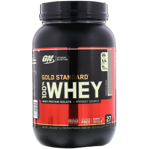 Gold Standard 100% Whey, сыворотка со вкусом печенья и сливок, 837 г (1,84 фунта)