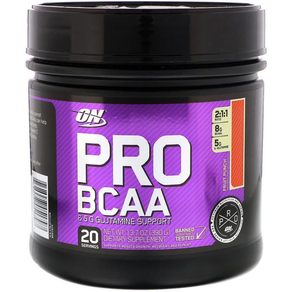Optimum Nutrition, Pro BCAA, Fruit Punch, 20 servings, 13.7 oz (390g) (Discontinued Item)