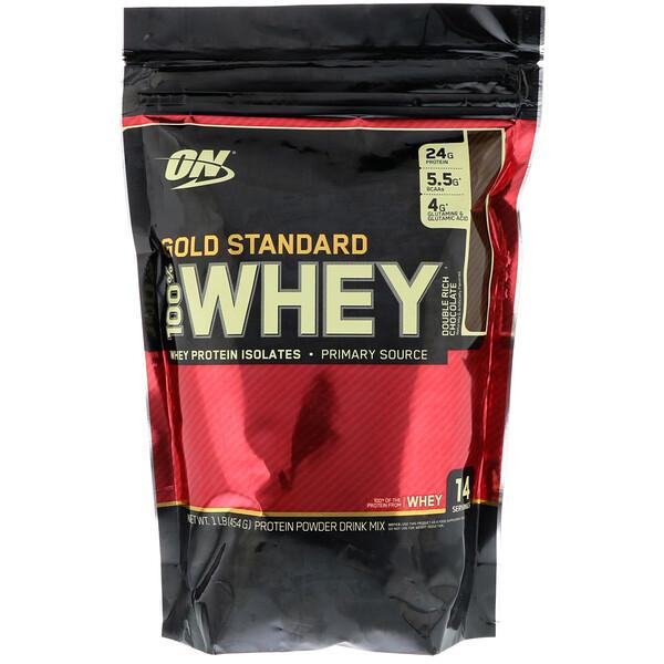 Optimum Nutrition, Сыворотка Gold Standard 100% Whey, двойной шоколад, 454 г (1 фунт)