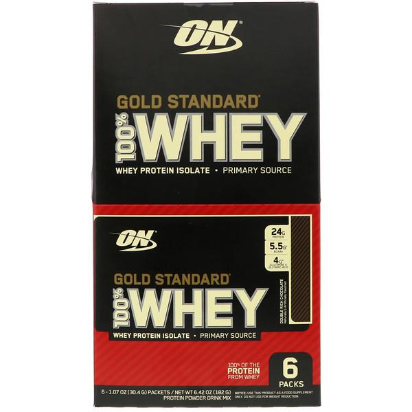 Optimum Nutrition, Сыворотка Gold Standard 100%, двойной шоколад, 6 пакетов, 1,07 унц. (30,4 г) каждый (Discontinued Item)