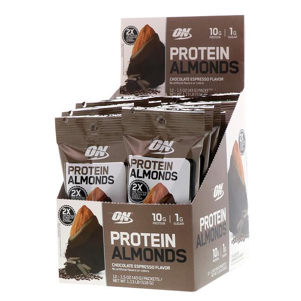 Optimum Nutrition, Протеиновый миндаль, шоколадный эспрессо, 12упаковок, 43г (1,5унции) каждый