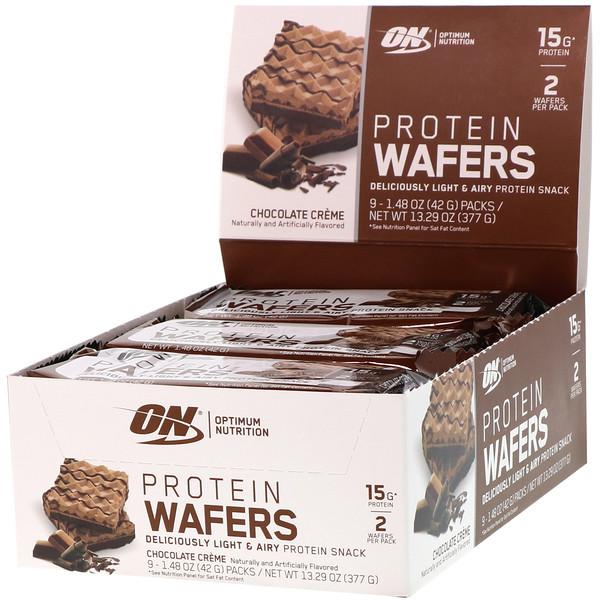 Optimum Nutrition, Протеиновые вафли, шоколадный крем, 9упаковок, 42г (1,48унции) каждая