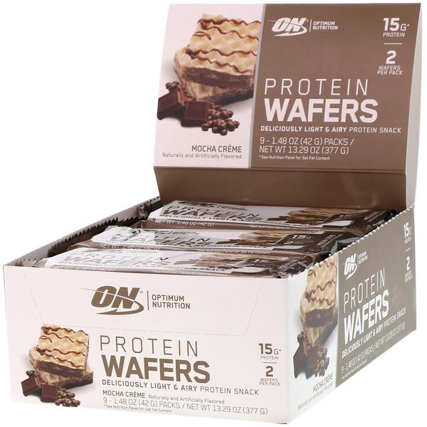 Optimum Nutrition, Протеиновые вафли, крем кофе мокко, 9 упаковок, по 1,48 унции (42 г) каждая
