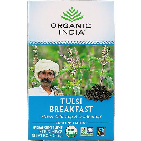 Organic India, Tulsi Tea, Breakfast, 18 Infusion Bags, 1.08 oz (30.6 g) (Discontinued Item)