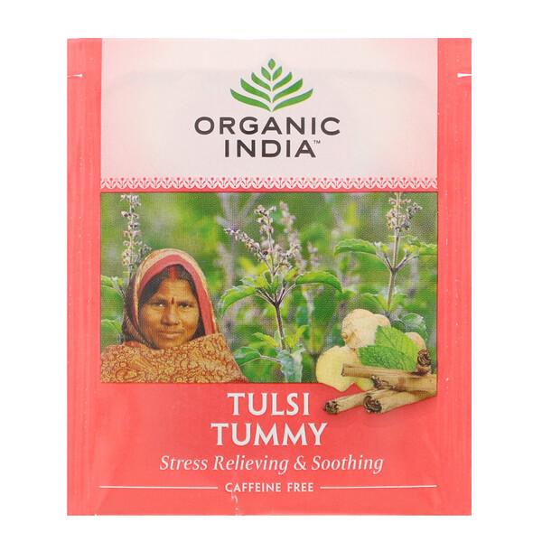 Organic India, Tulsi Tea, Tummy, Caffeine-Free, 18 Infusion Bags, 1.14 oz (32.4 g) (Discontinued Item)