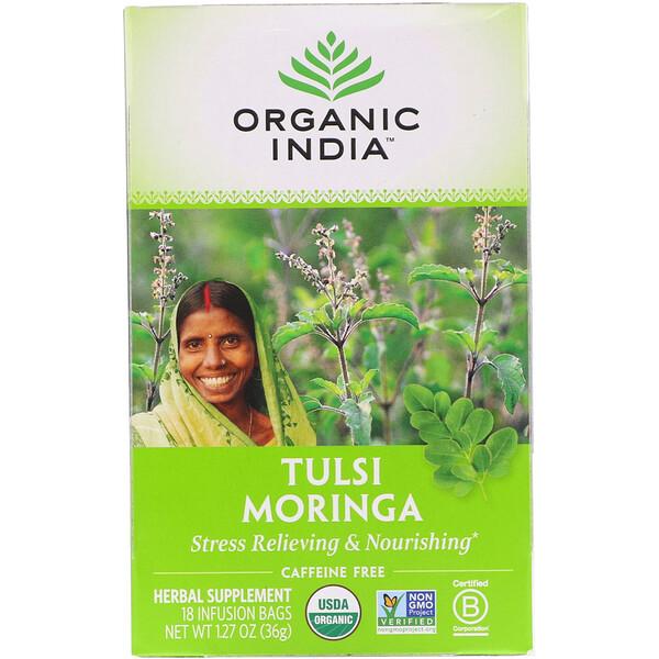 Tulsi Tea, Moringa, Caffeine Free, 18 Infusion Bags, 1.27 oz (36 g)