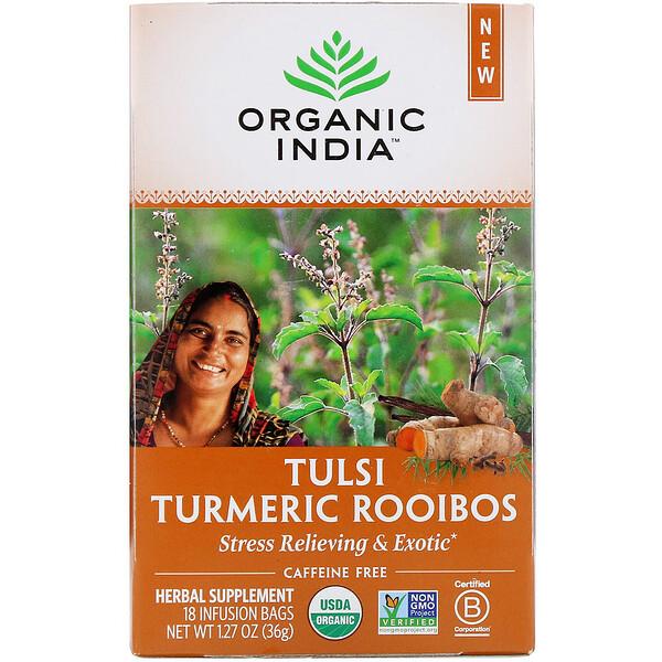 Tulsi Tea, Turmeric Rooibos, Caffeine-Free, 18 Infusion Bags, 1.27 oz (36 g)