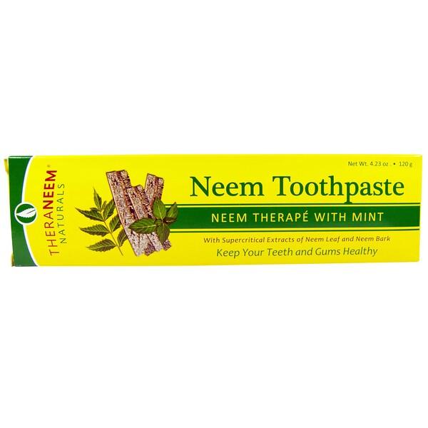 Organix South, TheraNeem Naturals, лечение на основе нима с мятой, зубная паста с мятой, 120 г (4,23 унции)