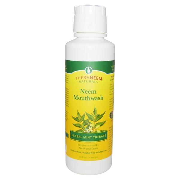 TheraNeem Organix, жидкость для полоскания рта Neem, травяная терапия мяты, 16 жидких унций (480 мл)