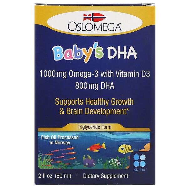 Oslomega, Норвежская серия, докозагексаеновая кислота (ДГК) с витаминомD3 для детей, 60мл (2жидкиеунции)