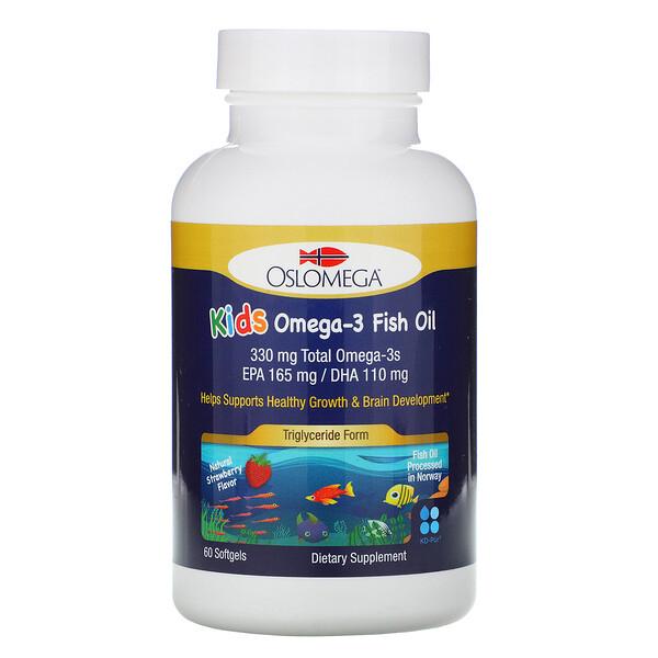 Norwegian Kids Omega-3, рыбий жир с натуральным клубничным вкусом, 60 мягких капсул из рыбьего желатина