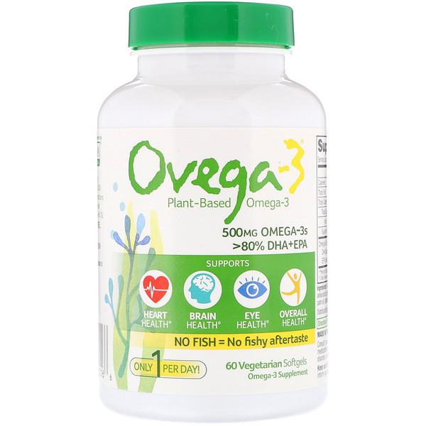 Веганские омега-3 кислоты, ДГК+ЭПК, 500мг, 60вегетарианских мягких таблеток
