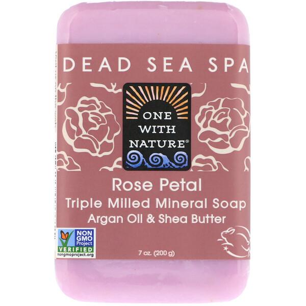 Кусковое мыло с трижды перемолотыми минералами, с запахом лепестков розы, 200 г