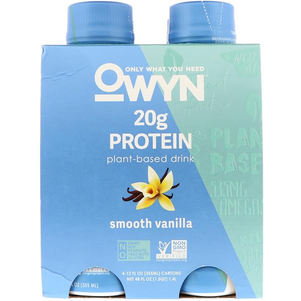 OWYN, Protein Plant-Based Shake, Smooth Vanilla, 4 Shakes, 12 fl oz (355 ml) Each (Discontinued Item)