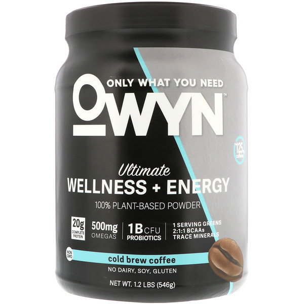 OWYN, Ultimate Wellness + Energy 100% Plant-Based Powder, Cold Brew Coffee, 1.2 lb (546 g) (Discontinued Item)