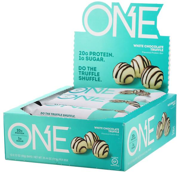 ONE Bar, White Chocolate Truffle, 12 Bars, 2.12 oz (60 g) Each