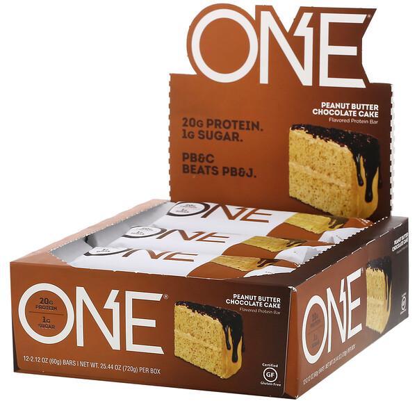 One Brands, ONE Bar, Peanut Butter Chocolate Cake, 12 Bars, 2.12 oz (60 g) Each