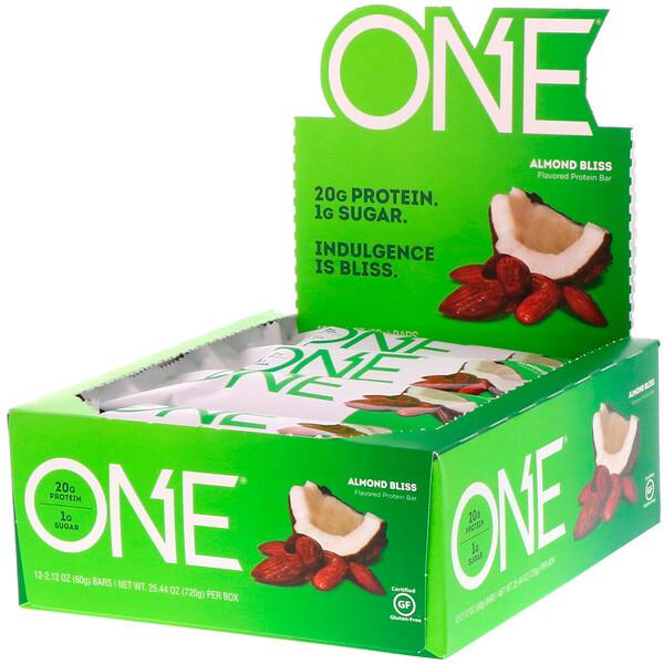 ONE Bar, Almond Bliss, 12 Bars, 2.12 oz (60 g) Each