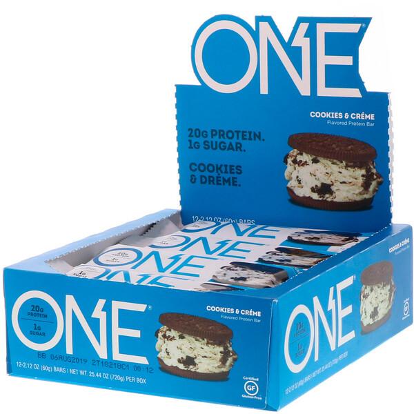 ONE Bar, Cookies & Cream, 12 Bars, 2.12 oz (60 g) Each