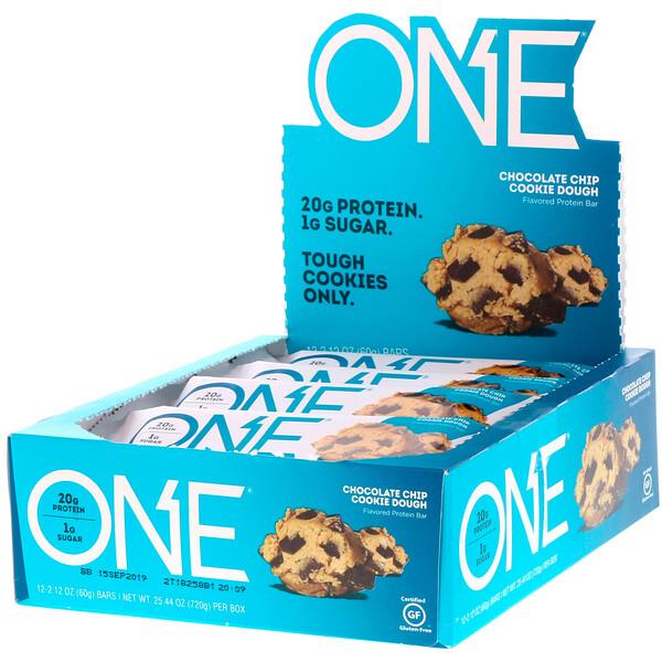ONE Bar, Chocolate Chip Cookie Dough, 12 Bars, 2.12 oz (60 g) Each