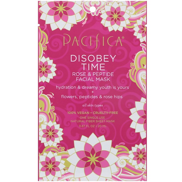 Pacifica, Disobey Time Rose & Peptide Facial Mask, 1 Mask, 0.67 fl oz (20 ml) (Discontinued Item)