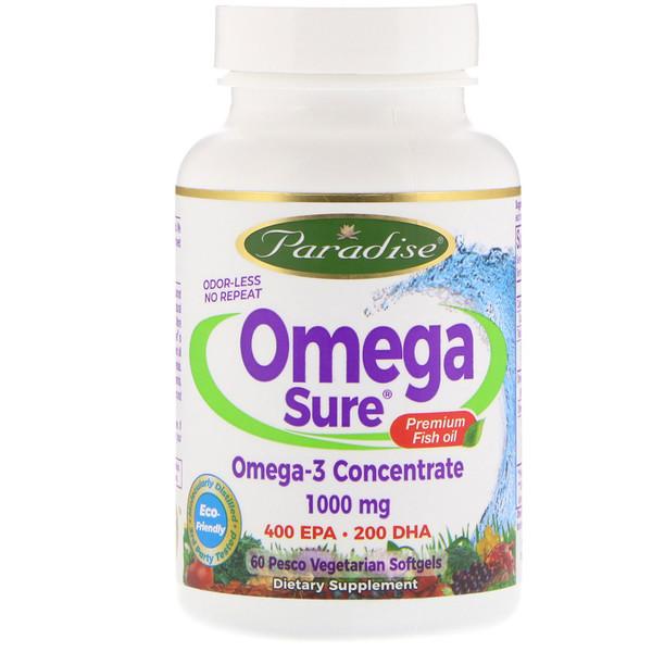 Omega Sure, концентрат омега-3, 1000 мг, 60 вегетарианских капсул (из рыбного желатина)