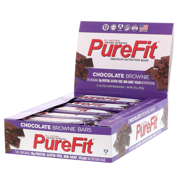 "PureFit Bars, Premium Nutrition Bars, ""Chocolate Brownie"" Батончики, 15 штук по 2 унции (57 г) каждая"
