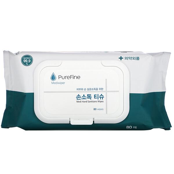 Mediwiper, Medi Hand Sanitizer Wipes, 80 Wipes